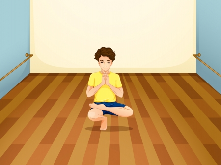 Illustration of a man performing yoga inside a room Vector