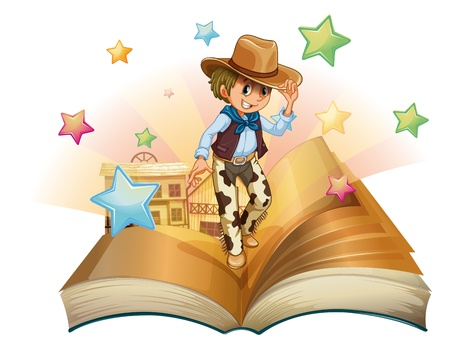 nonfiction: Illustration of a book with a young cowboy in front of a saloon bar on a white background,