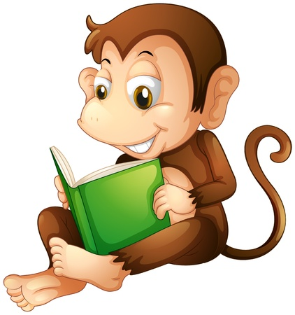 read book: Illustration of a monkey sitting while reading a book on a white background
