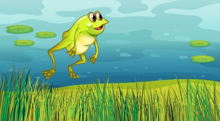 lilypad: Illustration of a frog jumping in the grass