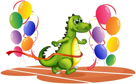 spines: Illustration of a crocodile walking between balloons on a white background