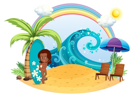 teenage girl bikini: Illustration of a tan girl at the beach with a surfing board on a white background Illustration