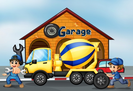 replacing: Illustration of a cement truck in front of the garage