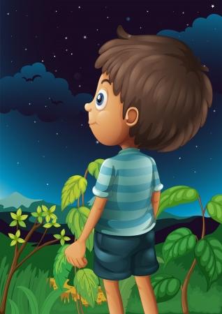gazing: Illustration of a boy gazing at the sky Illustration