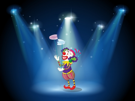 stageplay: Illustration of a clown performing on a stage under the spotlights