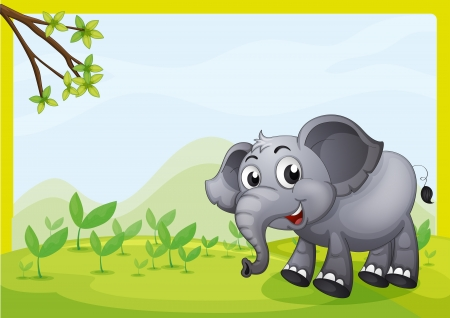 Illustration of an elephant playing in the field Illustration