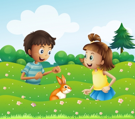 hillside: Illustration of a girl and a boy with a bunny at the hill