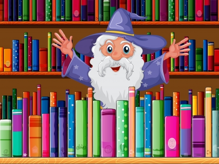 Illustration of a wizard inside the library Stock Vector - 20366697