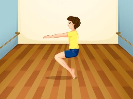 gym room: Ilustraci�n de un ni�o equilibrar su cuerpo Vectores