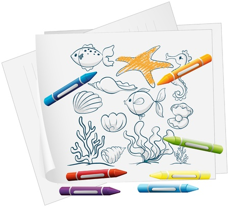 Illustration of a paper with a doodle design of the different sea creatures on a white background Vector