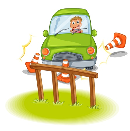 Illustration of a reckless driver bumping the traffic cones on a white background Stock Vector - 20366367
