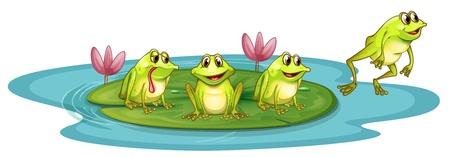 Illustrazione delle rane nello stagno su uno sfondo bianco