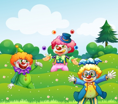pine three: Illustration of the three clowns at the garden
