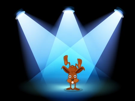 performing: Illustration of a bunny performing on a stage under the spotlights  Illustration