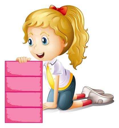arrodillarse: Ilustración de una niña con una rosa señalización vacío sobre un fondo blanco