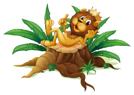 Illustration of a stump with the king of the jungle on a white background Vector