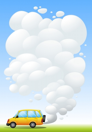 emitting: Illustration of a yellow van emitting smoke Illustration