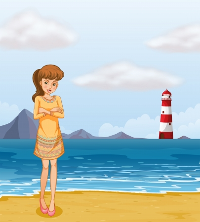 parola: Illustration of a pretty girl at the beach Illustration