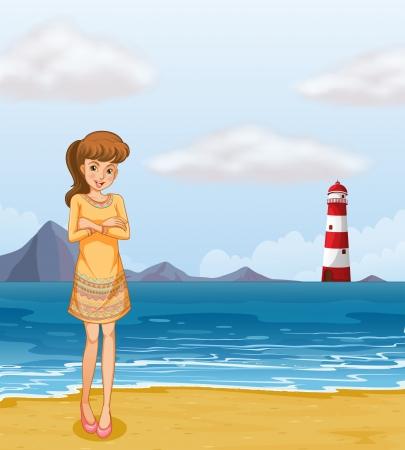 parola: Illustration of a pretty girl at the beach Illustration