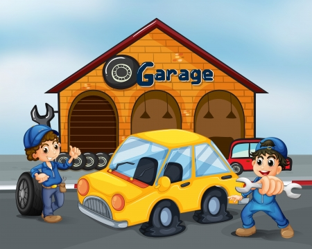 tire shop: Illustration of the two gentlemen with tools at the garage Illustration