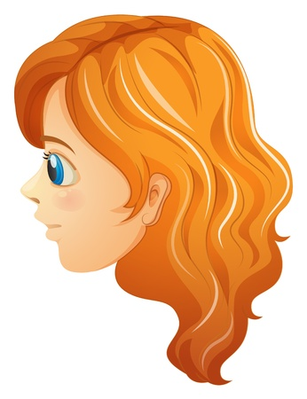 one sided: Illustration of a sideview of a girls face on a white background