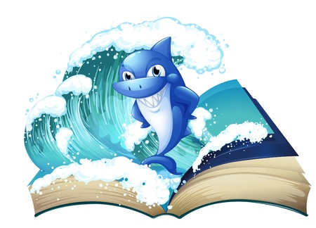nonfiction: Illustration of a book with a high wave and a big shark on a white background