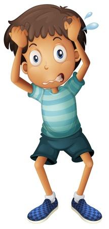 sudando: Ilustración de un niño rascándose la cabeza sobre un fondo blanco