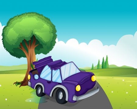Illustration of a violet car bumping the big tree at the road