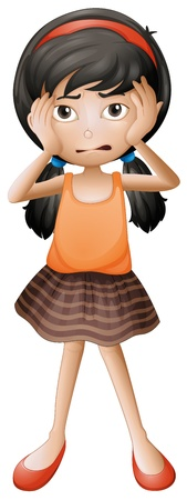 Illustration of a stressed little girl on a white background