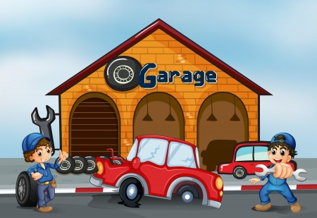 replacing: Illustration of the two adorable boys in front of the garage