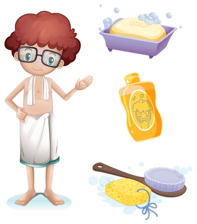 bathing man: Illustration of a boy with a soap, shampoo, brush and sponge on a white background