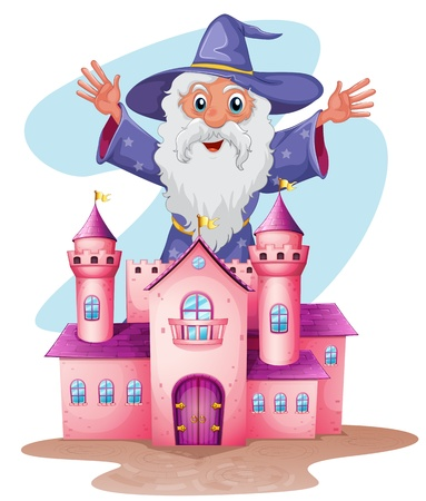 highness: Illustration of a pink castle with a wizard at the back on a white background