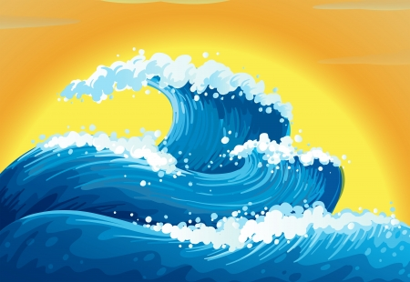 rising graphic: Illustration of the waves and the sun Illustration