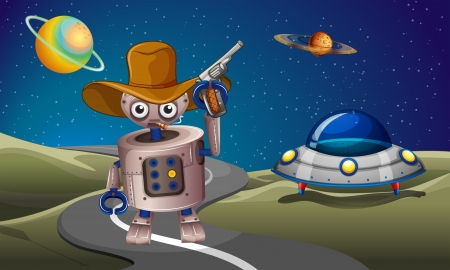 outerspace: Illustration of a robot at the road with a spaceship in the outerspace Illustration