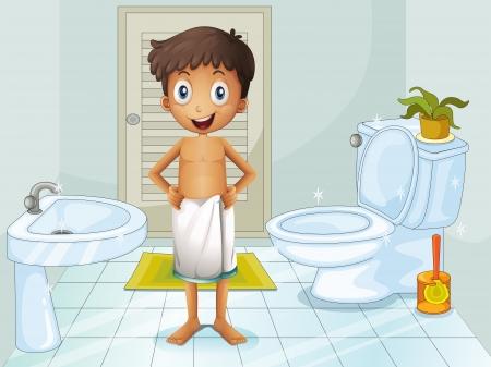 Illustration d'un garçon dans les toilettes