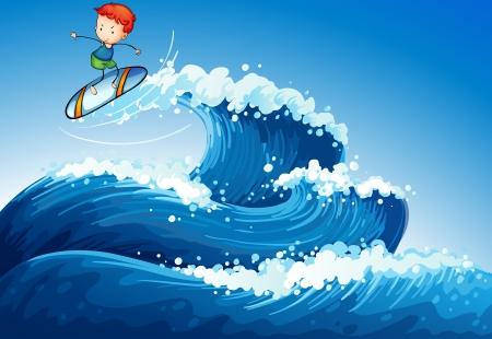 wavelengths: Illustration of a little boy surfing at the sea