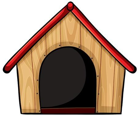 Illustratie van een vogelhuisje op een witte achtergrond