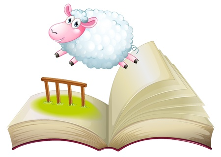 Illustration of a book with a sheep jumping on a white background Stock Vector - 20366452