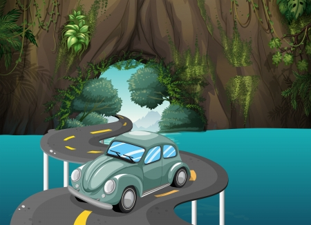 curve road: Illustration of a curve road passing through the cave Illustration