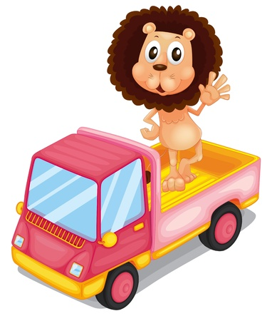 Illustration of a pink cargo truck with a lion waving at the back on a white background  Vector