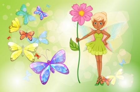 myth: Illustration of a fairy holding a pink flower with butterflies