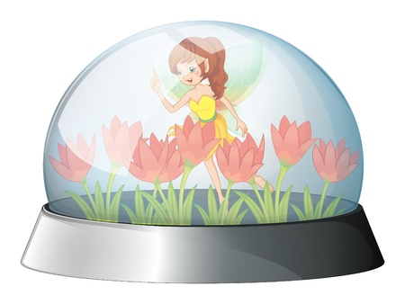 woman floating: Illustration of a dome with a fairy in the garden inside on a white background