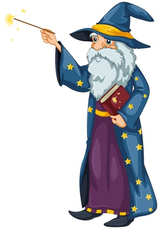Illustration of a wizard holding a magic wand and a book on a white background  Illustration