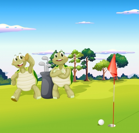 play golf: Illustration of the two turtles playing golf Illustration
