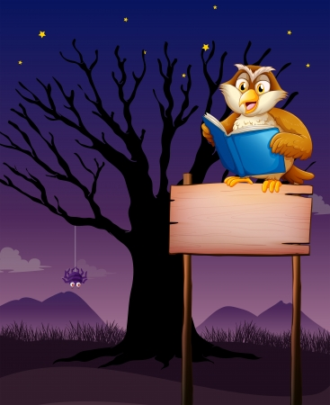 Illustration of an owl reading above the empty signboard Stock Vector - 20366626