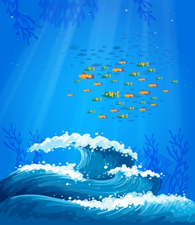 Illustration of a school of fish and the waves Vector