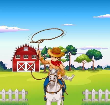 rancho: Ilustración de un joven vaquero en el rancho