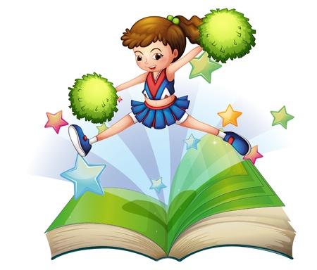 lectura: Ilustración de un libro con un salto cheerdancer lindo en un fondo blanco