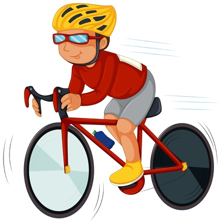 blue helmet: Illustration of a speedy biker on a white background Illustration