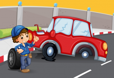 car glass: Illustration of a boy near the car accident at the road